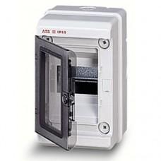 Бокс герметичный ABB EUROPA IP65 (4модуля) навесной пластиковый серый с прозрачной дверью
