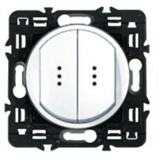 Legrand Celiane Выключатель-переключатель (проходной) двухклавишный белый с подсветкой