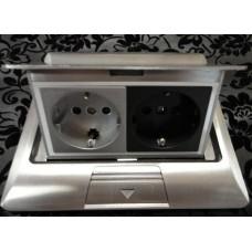 LUK/2AL Люк в пол на 2 розетки (45х45мм), алюминиевый
