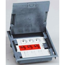 Напольная коробка с глубиной 75-105 мм 18 модулей - под покрытие - серый RAL