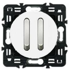 Legrand Celiane выключатель (переключатель) двухклавишный бесшумный белый