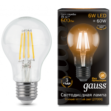 Лампа Gauss LED Filament A60 E27 6W 2700К
