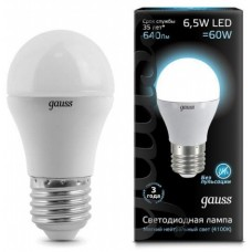 Лампа Gauss LED Globe E27 6.5W 4100K