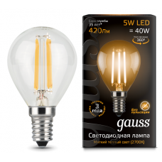 Лампа Gauss LED Filament Globe E14 5W 2700K