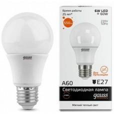 Лампа Gauss LED Elementary A60 6W E27 2700K