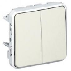 Двухклавишный переключатель на два направления Plexo белый 10 AX