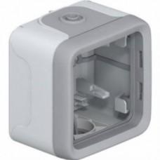 Коробка для накладного монтажа с мембранными сальниками Plexo серый 1 пост