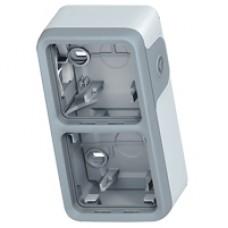 Двухместная монтажная коробка Plexo серый 2 поста - горизонтальная установка