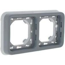 Суппорт с рамкой для встроенного монтажа Plexo серый 2 поста - горизонтальная установка