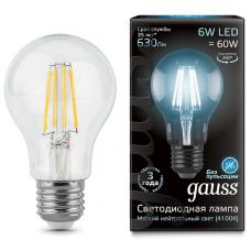 Лампа Gauss LED Filament A60 E27 6W 4100К