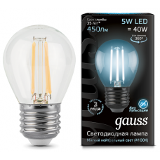 Лампа Gauss LED Filament Globe E27 5W 4100K
