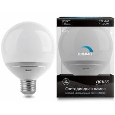 Лампа Gauss LED G95-dim 14W E27 4100K диммируемая