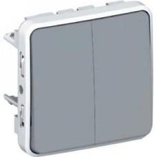 Двухклавишный переключатель на два направления Plexo серый 10 AX
