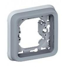 Суппорт с рамкой для встроенного монтажа Plexo серый 1 пост