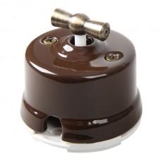 Выключатель 2-х позиционный для наружного монтажа проходной коричневый Salvador