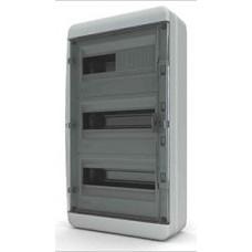 Щит навесной 36 мод. IP65, прозрачная черная дверца